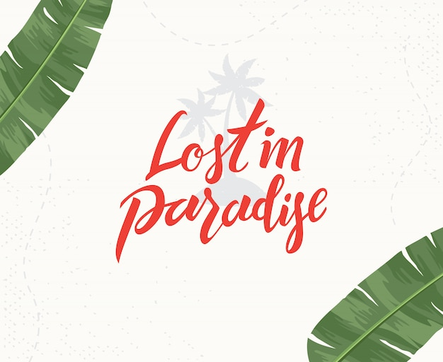 Verloren im paradies handgeschriebene schrift