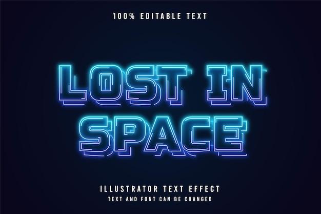 Verloren im raum, 3d bearbeitbarer texteffekt blaue abstufung neon-stil-effekt