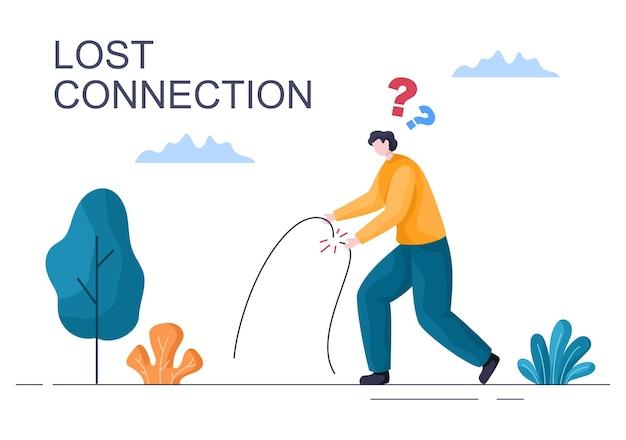 Verlorene drahtlose verbindung oder getrenntes kabel, kein wifi-signal internet, seite nicht auf dem bildschirm des smartphones gefunden. hintergrund-vektor-illustration