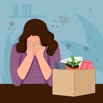Verlustjob aufgrund einer coronavirus-krise mit weinender frau