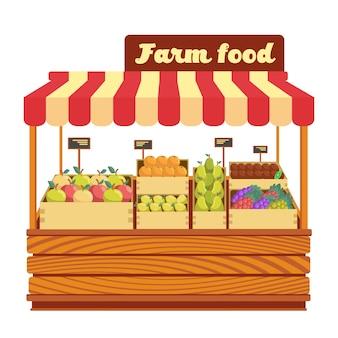 Vermarkten sie hölzernen stand mit bauernhoflebensmittel und -gemüse in der kastenvektorillustration