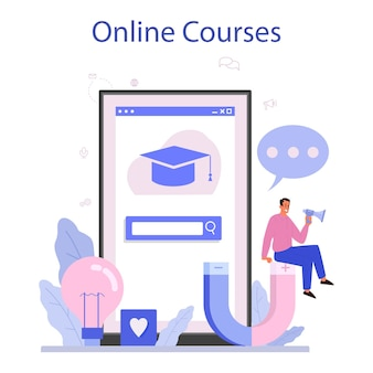 Vermarkter online-service oder plattform. geschäftsstrategie und kommunikation. online kurs. flache vektorillustration