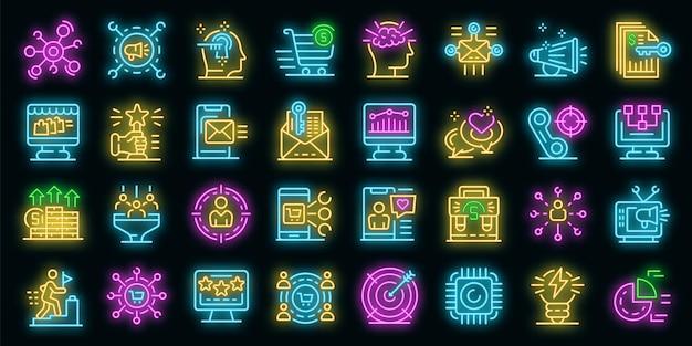 Vermarkterikonen eingestellt. umrisse von vermarkter-vektorsymbolen neonfarbe auf schwarz