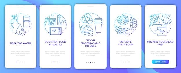 Vermeiden sie tipps zu mikroplastik, wenn sie den seitenbildschirm der mobilen app mit konzepten versehen
