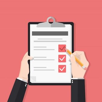 Vermessungsformular mit bleistiftvektorillustration. hand halten und checkliste auf papierblatt zwischenablage füllen.