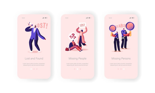 Vermisste personen in crowd mobile app seite onboard-bildschirmvorlage verloren