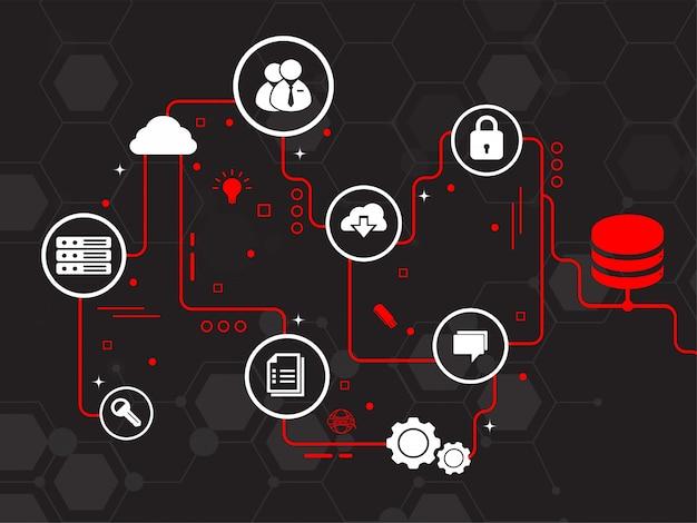 Vernetzte technologie für das blockchain-konzept.