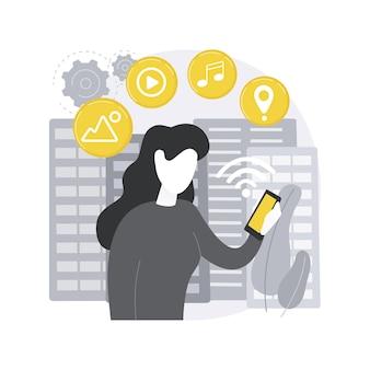 Vernetztes leben. globale onlinedienste, intelligentes gerätenetzwerk, allgegenwärtige konnektivität, nahtlos unterstützte verbindung, iot-technologie.