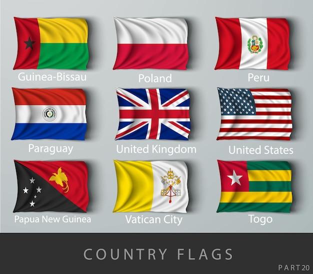 Vernietete die mit schatten zerknitterte landesflagge