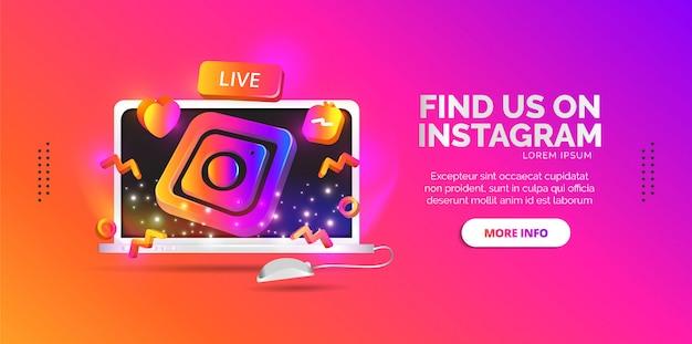 Veröffentlichen sie social media-designs, um ihre instagram-links zu teilen