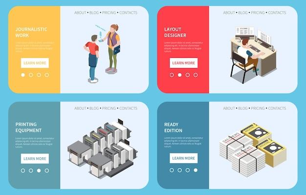 Veröffentlichung von horizontalen bannern mit druckgeräten für journalisten-layout-designer und vorgefertigten zeitungen mit isometrischer isolierter illustration