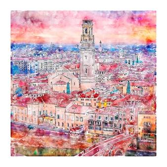 Verona italien aquarellskizze handgezeichnete illustration