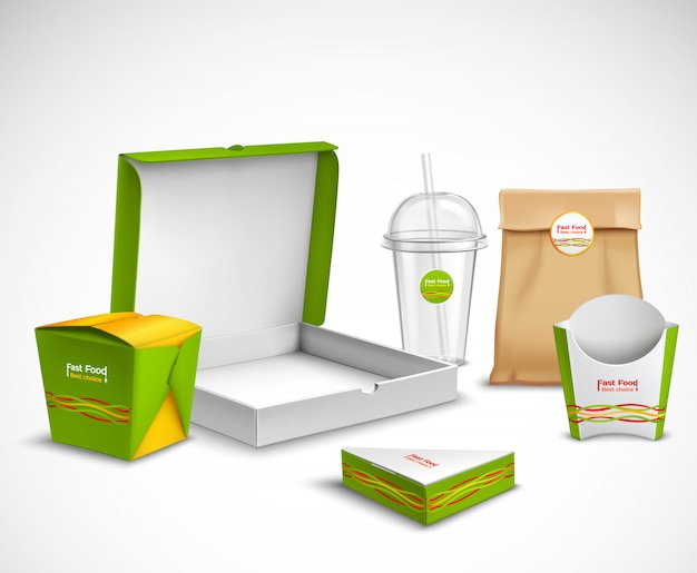 Verpackung fast food realistic set