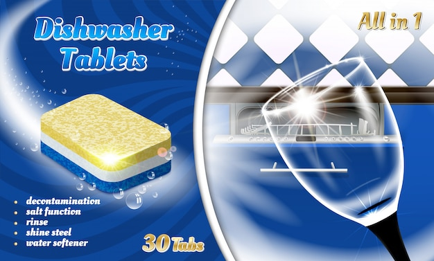 Verpackung für spülmaschinentabletten. realistische illustration von spülmaschinentabletten