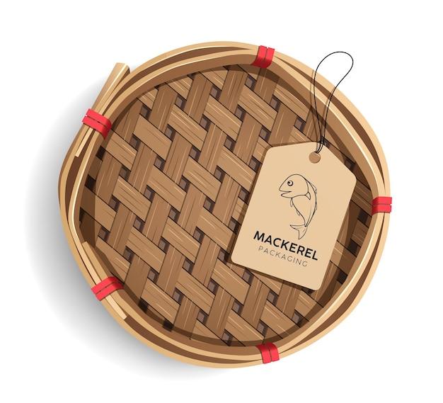 Verpackung makrele korb, produkt realistische vorlage design mit etikett