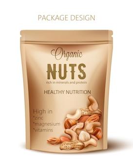 Verpackung mit bio-nüssen. reich an mineralien und eiweiß. gesunde ernährung, reich an zink, magnesium und vitaminen. realistisch