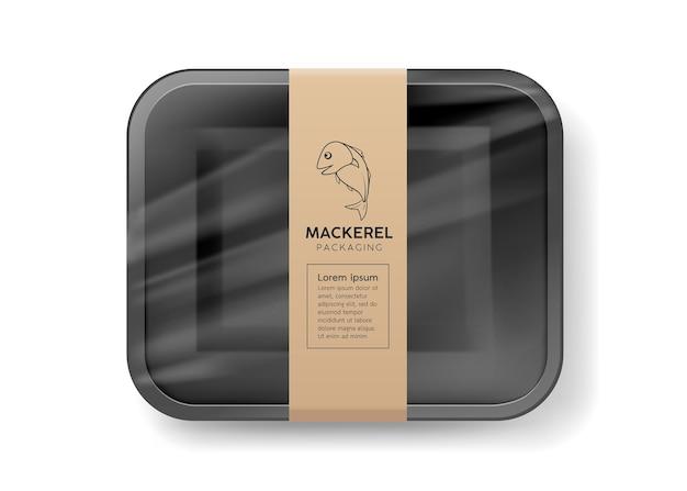 Verpackung schwarzer schaumstoffschale, eingewickelt in plastikmakrelenfischetikett