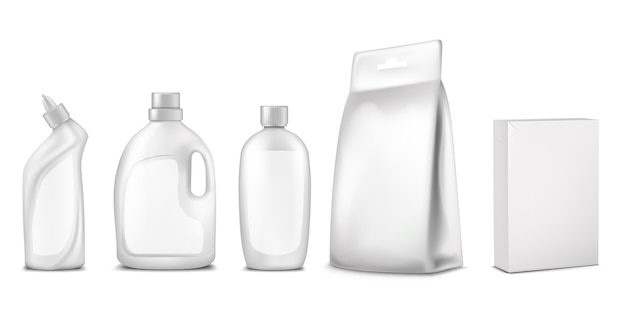 Verpackung, verpackungsdesign. weiße flasche, beutel, box, behälter für die reinigung