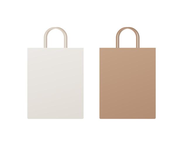 Verpackung von einkaufstüten aus papier. modell der leeren einkaufstasche. modell isoliert.
