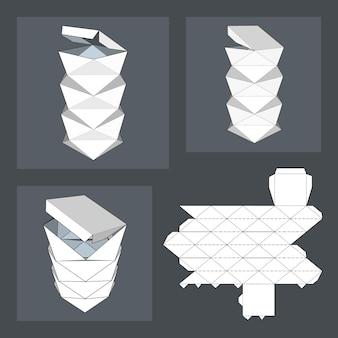 Verpackungsbox für lebensmittel, geschenke oder andere produkte. auf weißem hintergrund getrennt. bereit für ihr design.