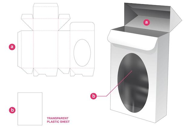 Verpackungsbox mit automatisch verriegeltem punkt und ellipsenförmigem fenster mit transparenter plastikfolien-stanzschablone