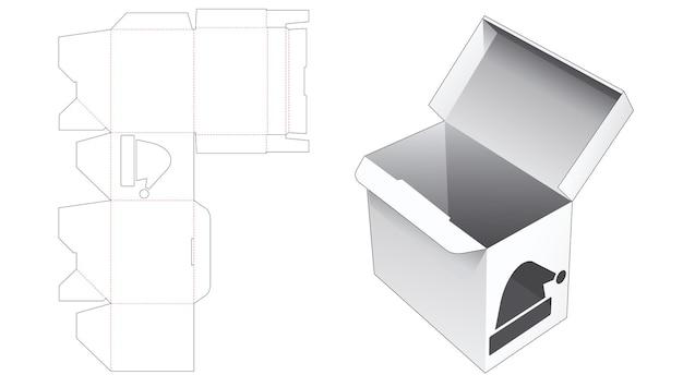 Verpackungsbox mit automatisch verriegelter spitze und gestanzter schablone für weihnachtsmützen