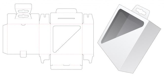 Verpackungsbox mit dreieckigem schaufenster und ausgestanzter schablone