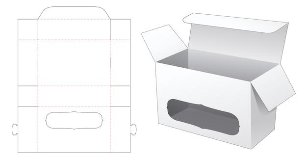 Verpackungsbox mit gestanzter fensterschablone
