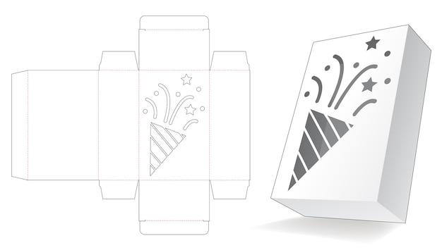 Verpackungsbox mit gestanzter konfettischablone