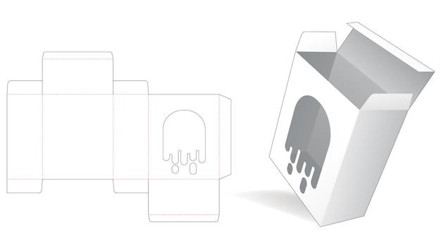 Verpackungsbox mit gestanzter schablone für geisterfenster
