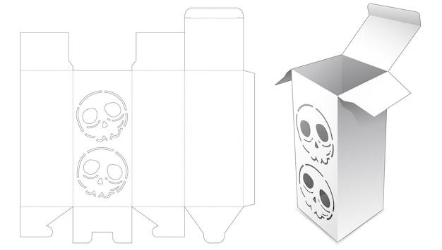 Verpackungsbox mit gestanzter schablone mit totenköpfen