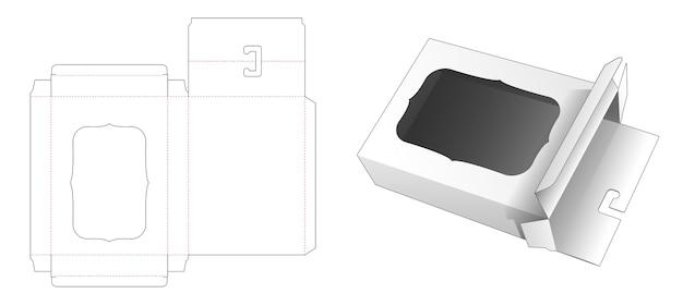 Verpackungsbox mit hängeloch und gestanzter fensterschablone