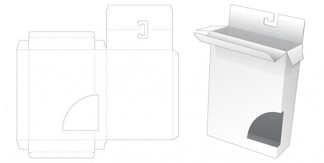 Verpackungsbox mit hängeloch und gestanzter schablone für kurvenfenster