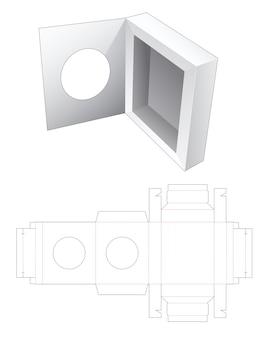 Verpackungsbox mit klappdeckel mit gestanzter schablone für kreisfenster