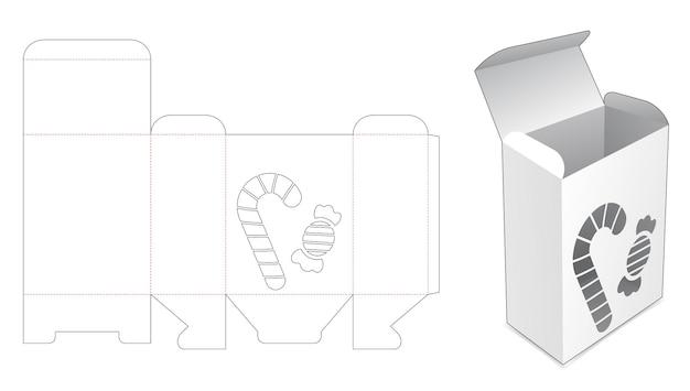 Verpackungsbox mit schablonen-süßigkeiten und toffee-stanzschablone