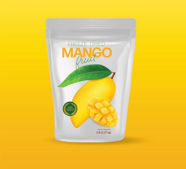 Verpackungsdesign frische mango mit scheiben und blattillustration