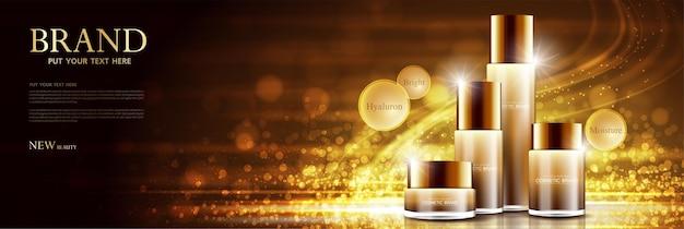 Verpackungsdesign für kosmetikprodukt-posterflaschen mit feuchtigkeitscreme oder flüssigem funkelnden hintergrund