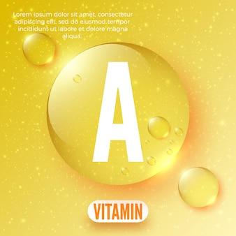 Verpackungsdesign für vitamin a-komplex glänzender goldener runder tropfen vektorillustration