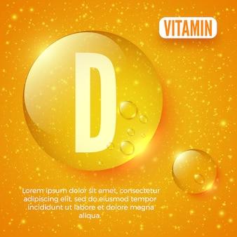 Verpackungsdesign für vitaminkomplex vitamin d-kapsel glänzender goldener runder tropfen vektorillustration