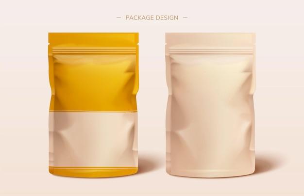 Verpackungsfolienbeuteldesign in 3d-darstellung auf rosa hintergrund