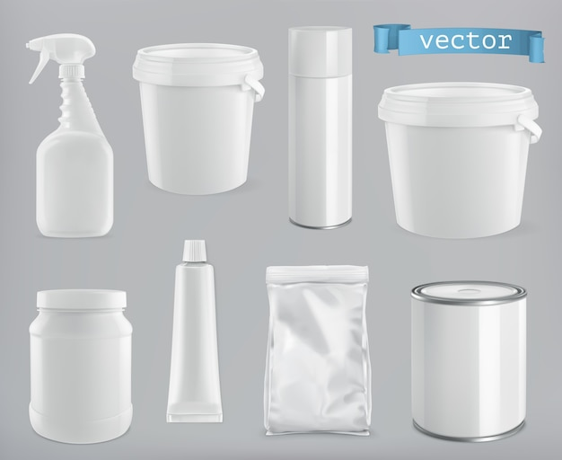Verpackungsgebäude und sanitär. weiße plastik-, metall- und papierpackung, vektor