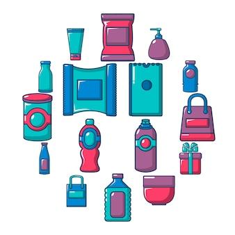 Verpackungsgeschäft shop-icon-set, flache