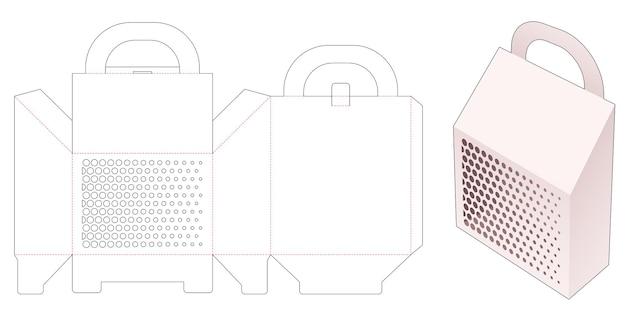 Verpackungskarton mit abgeschrägtem träger und gestanzter schablone mit rasterpunkten