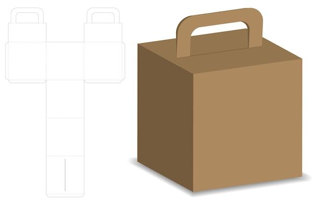 Verpackungskasten 3d-modell mit dieline-vorlage