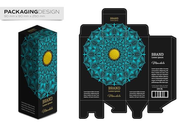 Verpackungskastendesign-schablonenplan mit mandala