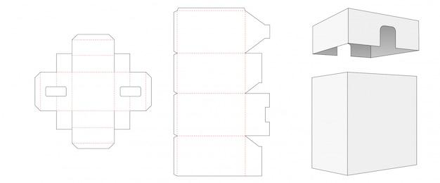 Verpackungsschablonen-design für verpackungsbox und deckel