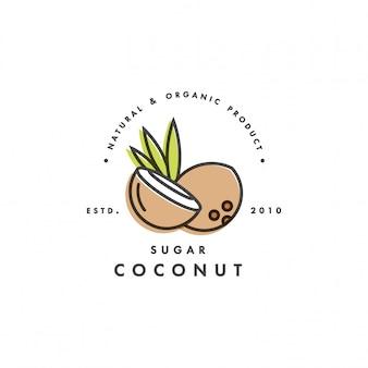 Verpackungsschablonenlogo und -emblem - zucker - kokosnuss. logo im trendigen linearen stil.