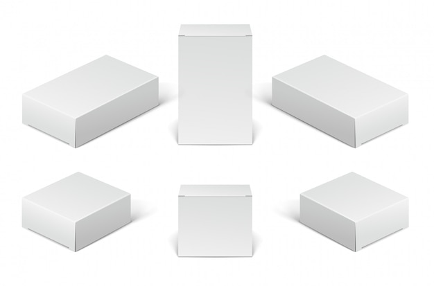Verpackungsschachteln aus weißem pappkarton. satz leere kosmetische, medizinische und elektronische geräteboxen lokalisiert auf weißem hintergrund.