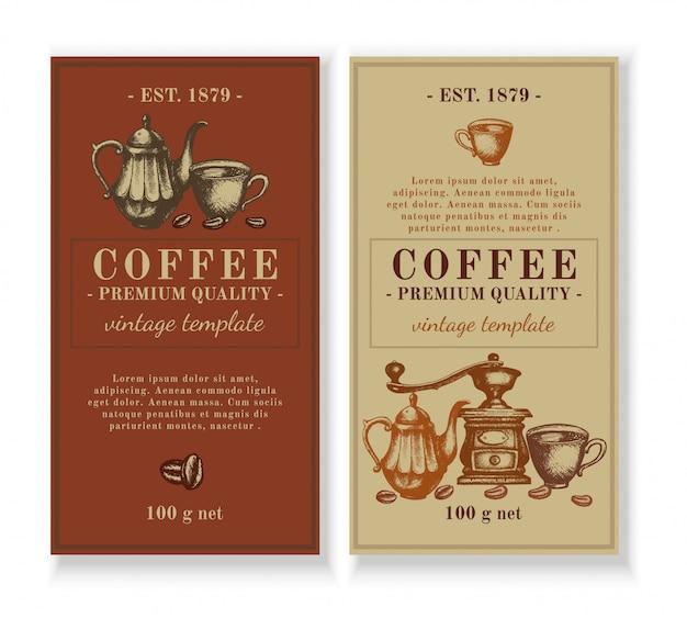 Verpackungsvorlagendesign für kaffee-etikett