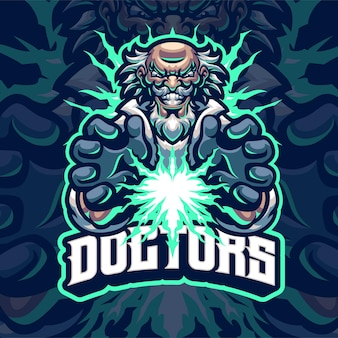 Verrückte ärzte maskottchen logo vorlage